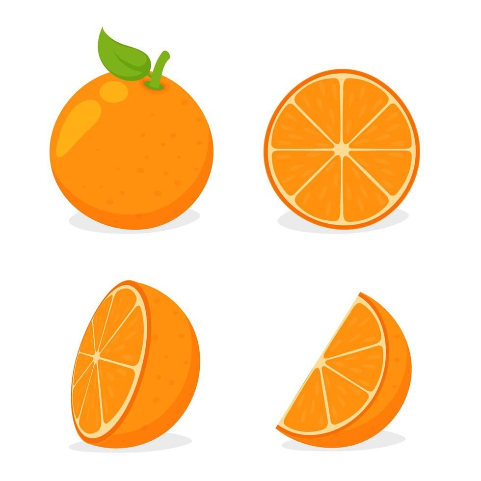 Gesneden Oranje Set vector