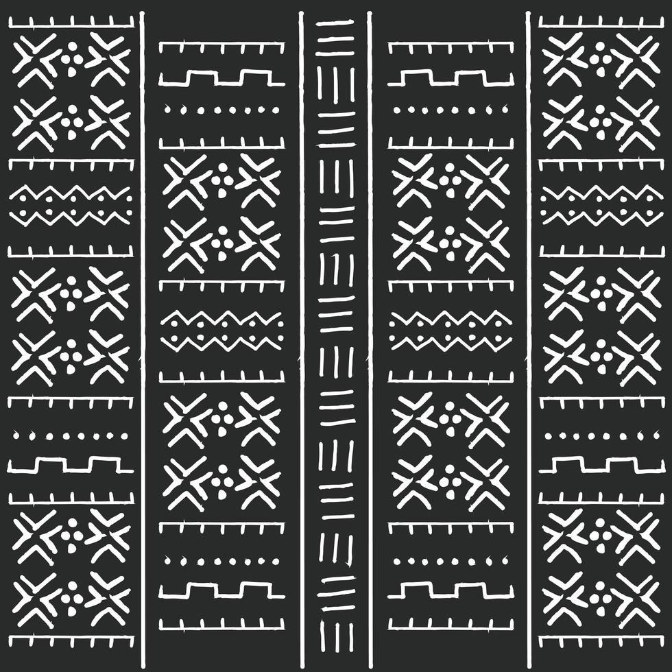 Zwart-wit stammen etnisch patroon met geometrische elementen vector