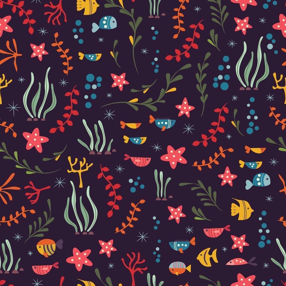 Naadloos patroon met onderwater oceaandieren, schattige vissen en planten vector