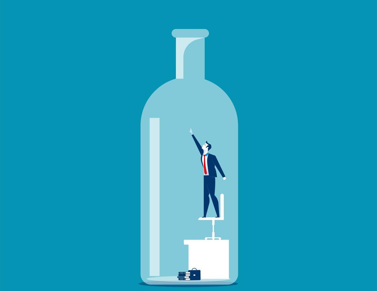 Zakenman gevangen in fles vector