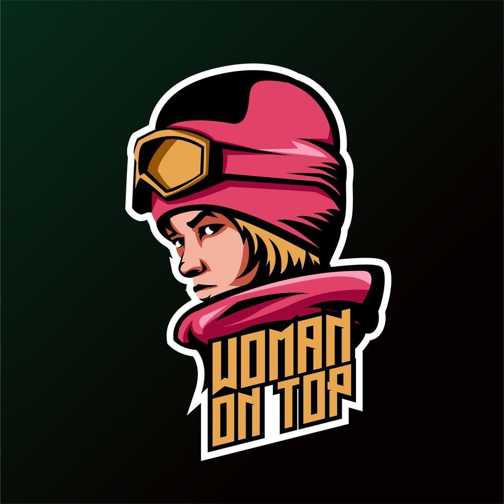 Vrouw Snowboarder Head met vrouw op bovenste tekst vector