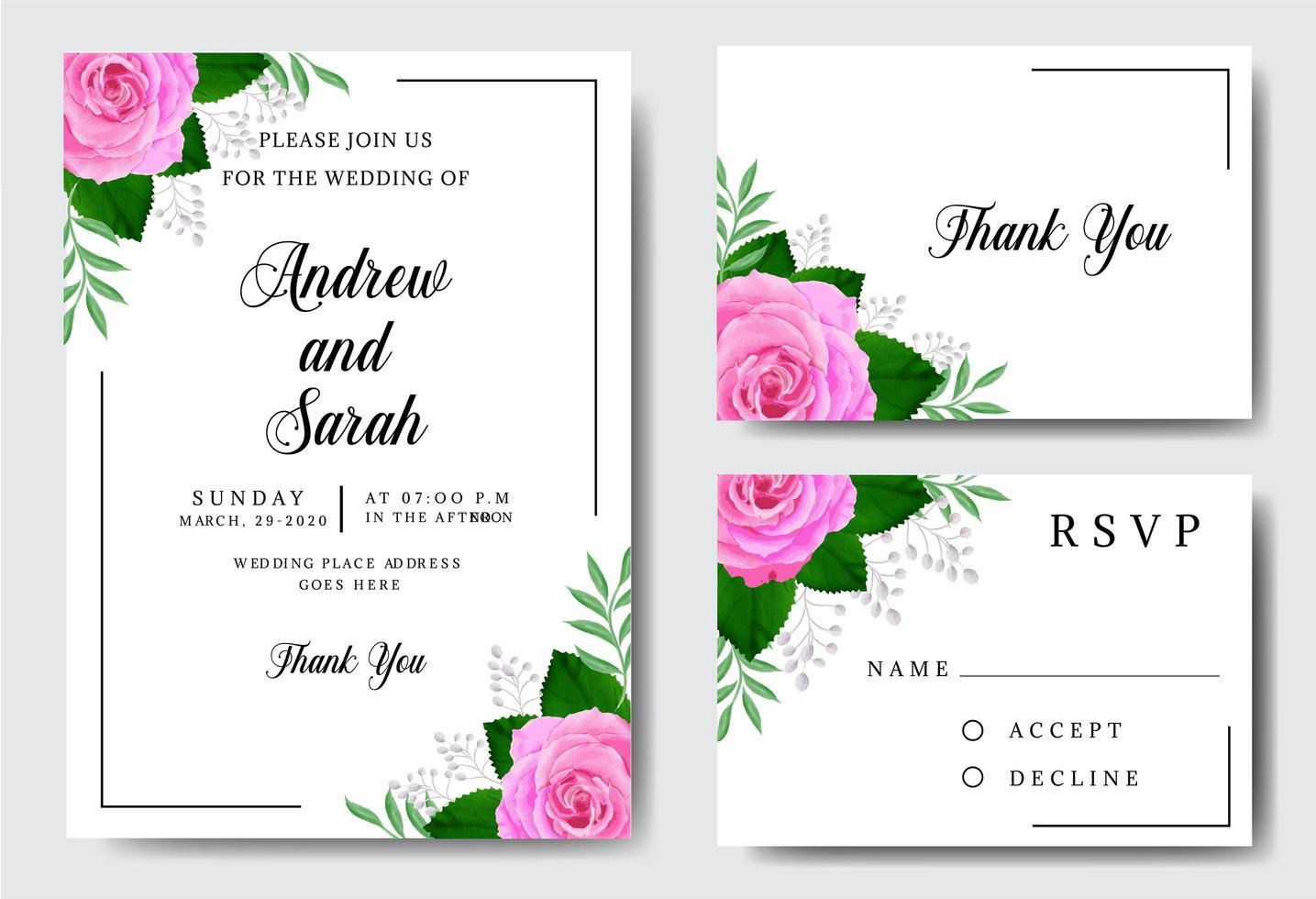 aquarel bruiloft uitnodiging met rozen op wit vector