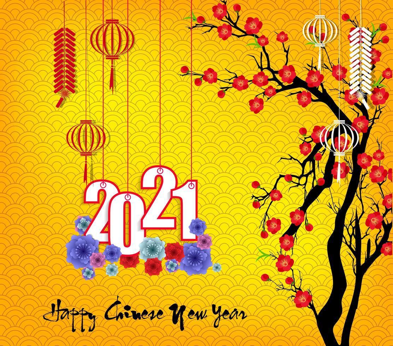Chinees Nieuwjaar opknoping 2021 met bloemen op geel vector