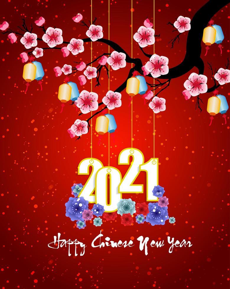 Chinees Nieuwjaar opknoping 2021 poster op rood met bloesems vector