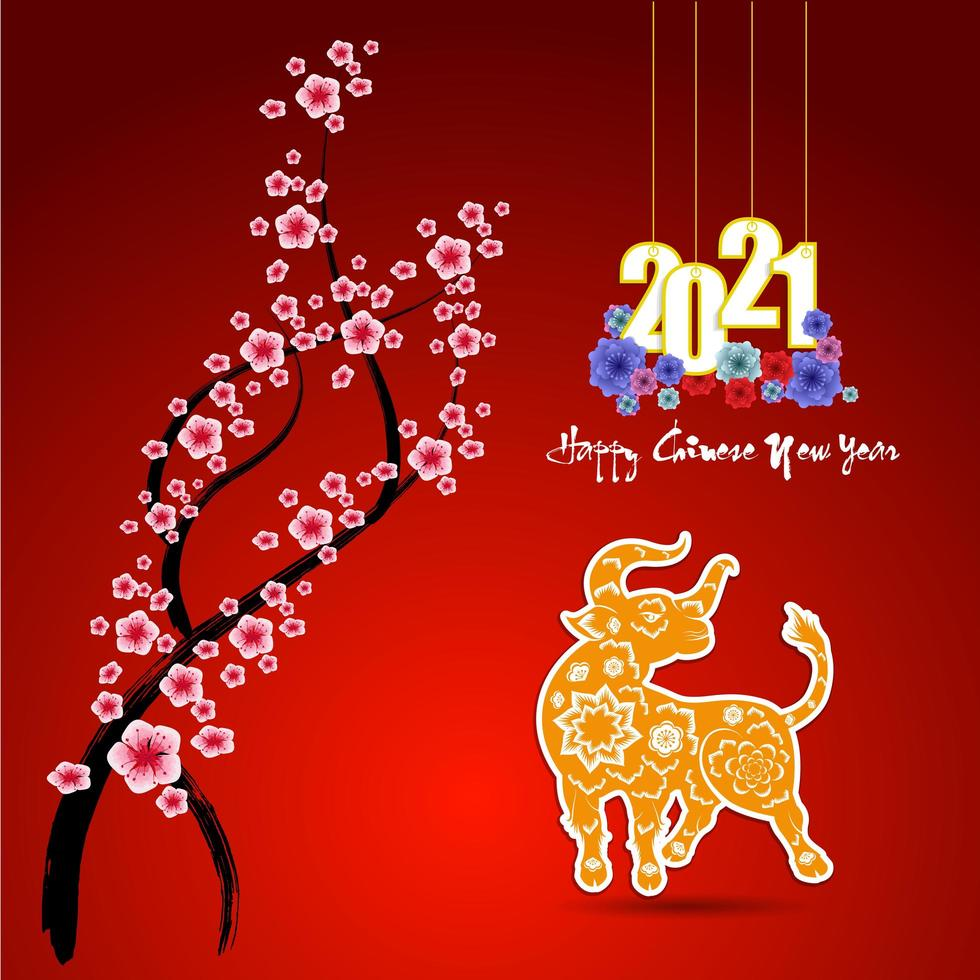 Chinees Nieuwjaar 2021 poster met os en penseelstreek tak vector