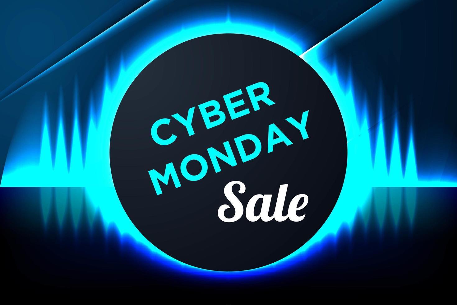 blauwe gloeiende cyber maandag banner met cirkelframe vector