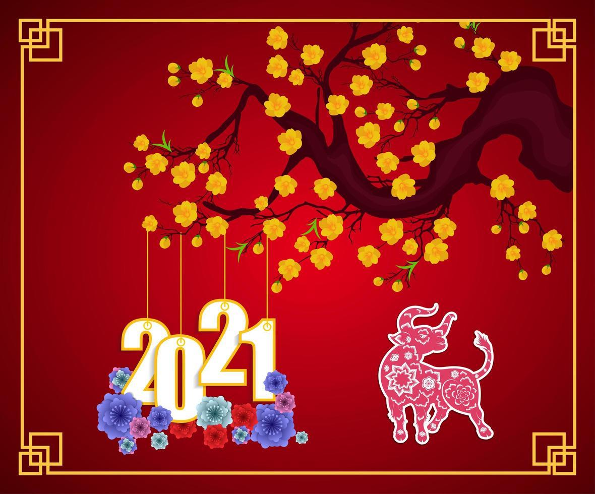 Chinees Nieuwjaar 2021 poster op rood met tak en bloemen vector