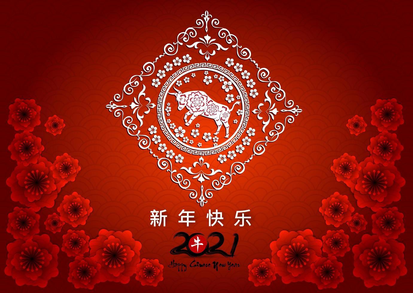Chinees Nieuwjaar 2021 met rode bloemen en os in frame vector