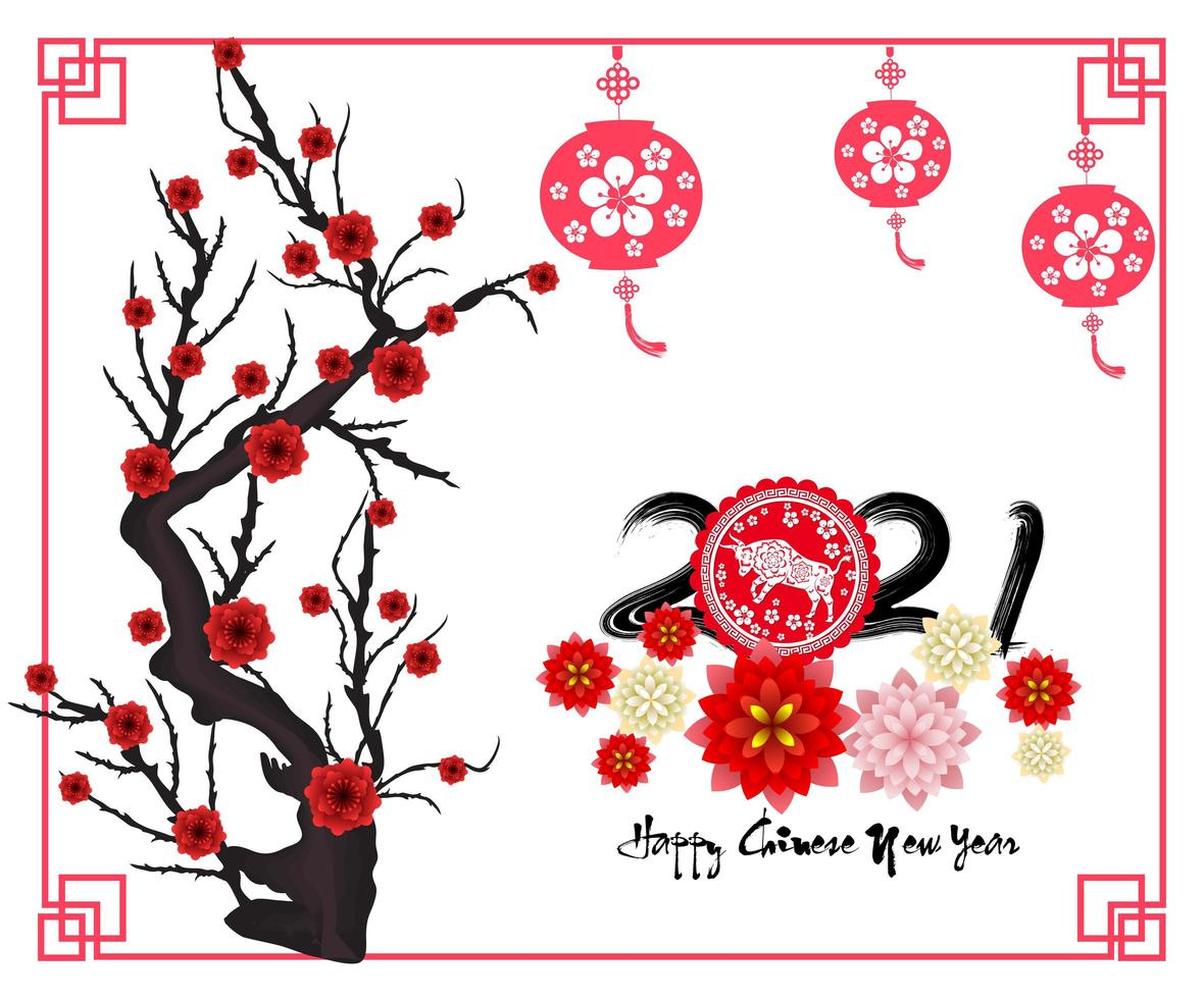 Chinees Nieuwjaar 2021 jaar van de os met tak en bloesems vector