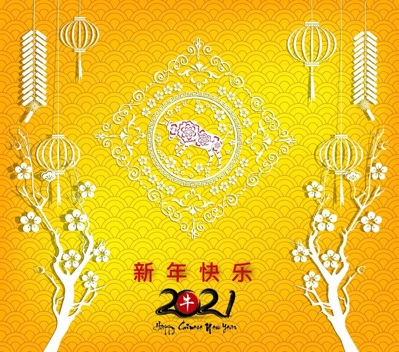 Chinees Nieuwjaar 2021 op oranje patroon met takken vector