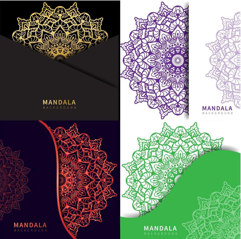 kleurrijke mandala in 4 verschillende stijlen vector