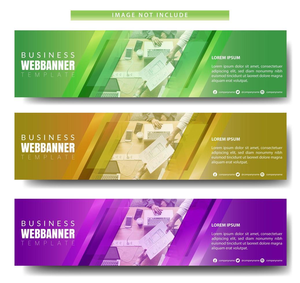 kleurrijke diagonale horizontale banner ontwerpset vector