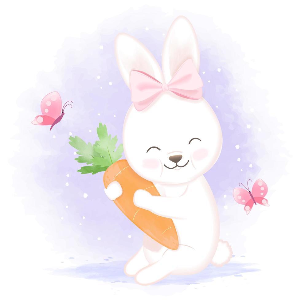 konijn met wortel hand getrokken illustratie vector