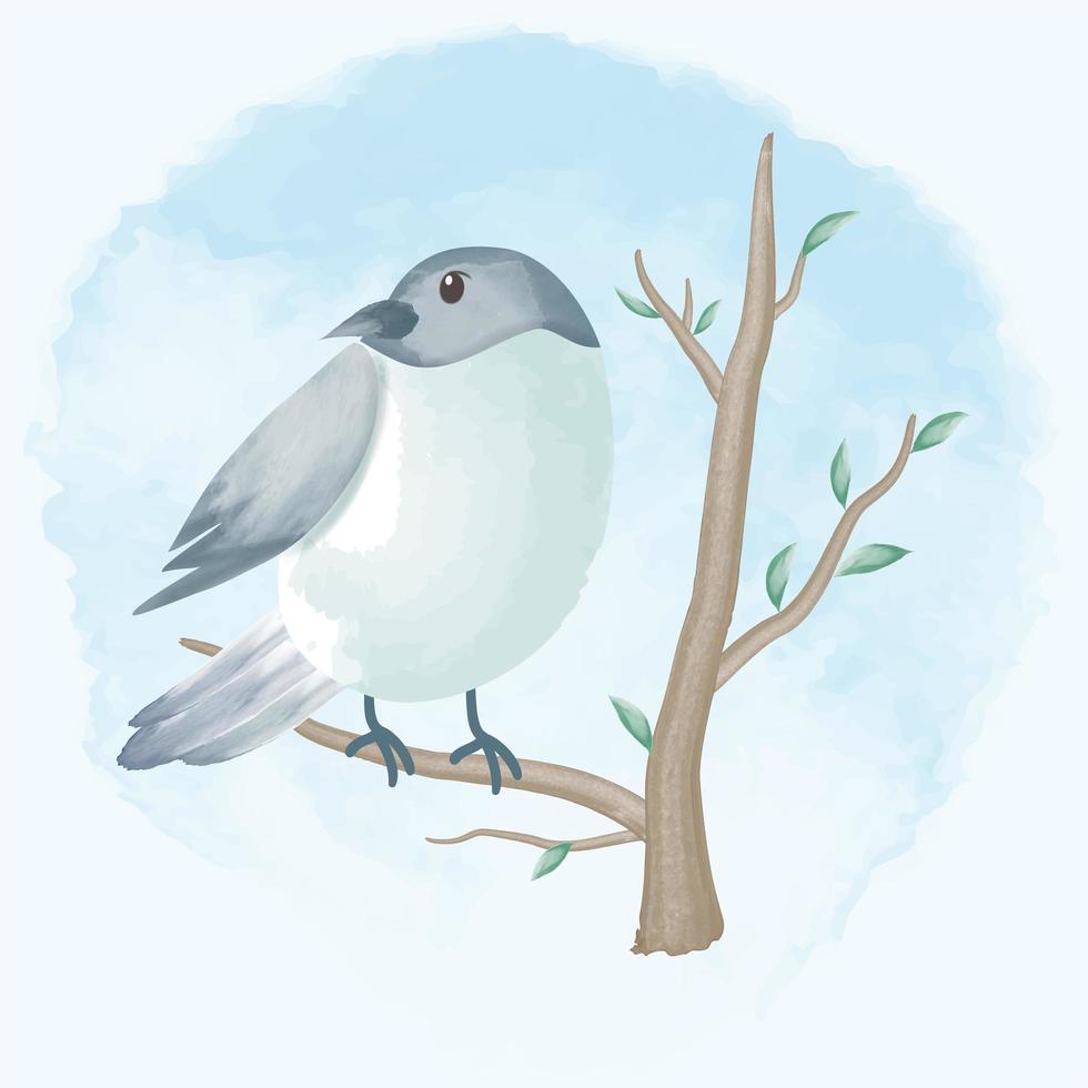 vogel op tak hand getrokken illustratie vector