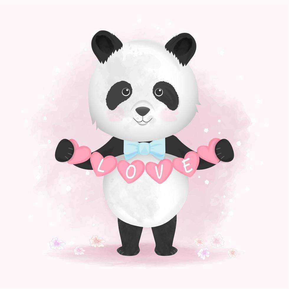 hand getekend panda harten met liefde tekst te houden vector