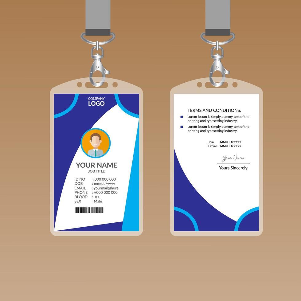 blauwe kromme ontwerp id-kaartsjabloon vector