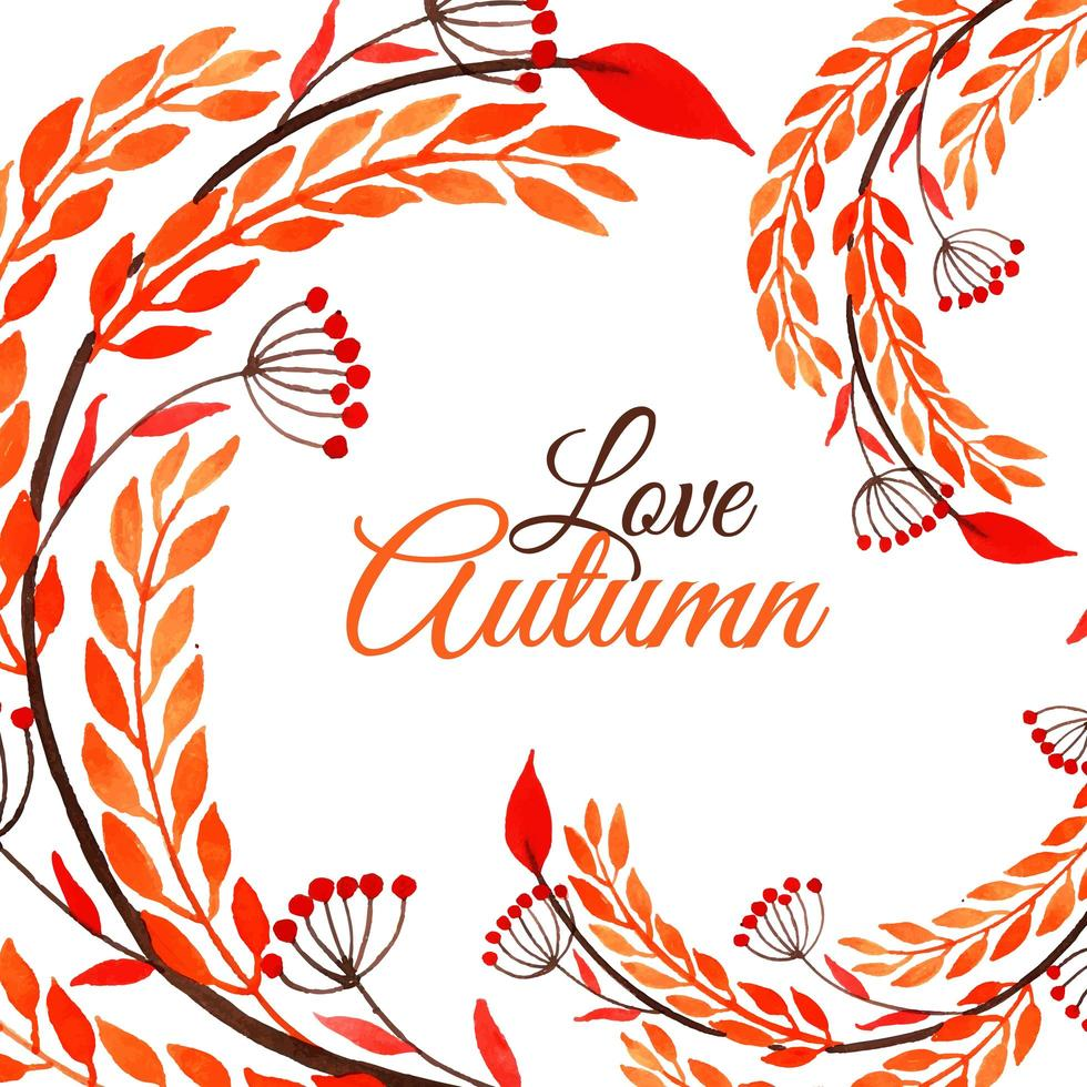 aquarel herfst ontwerp met wervelend gebladerte vector