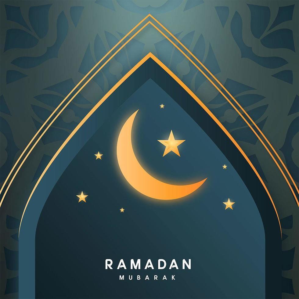 ramadan kareem archway met maan en sterren vector