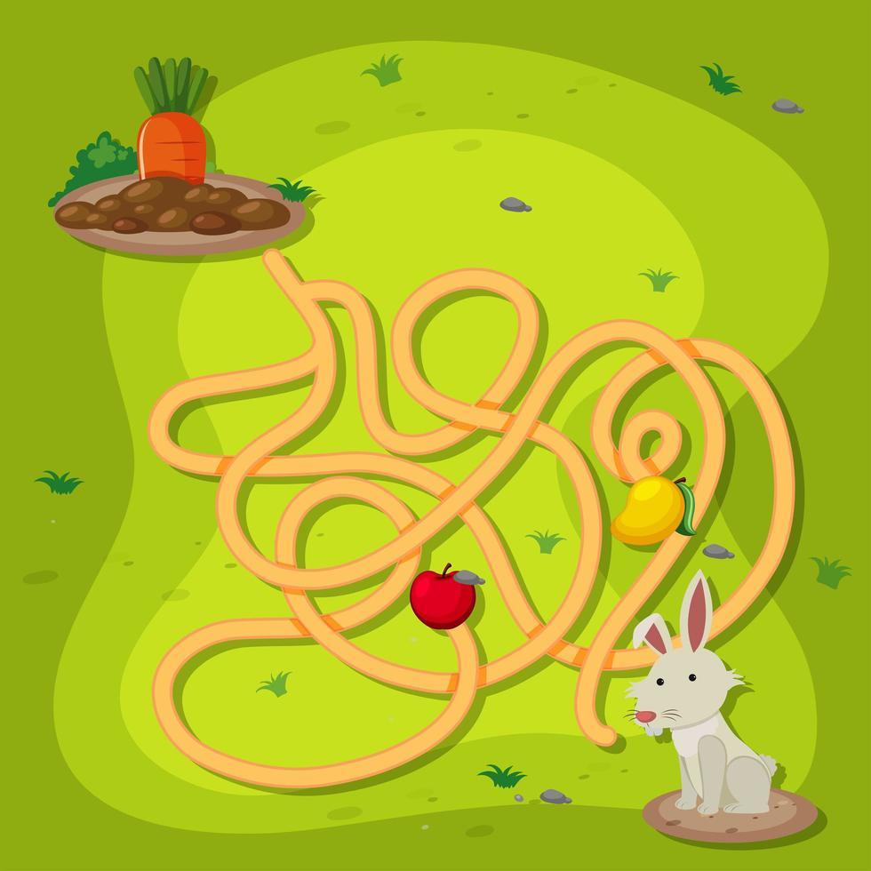een konijn-doolhofspel vector