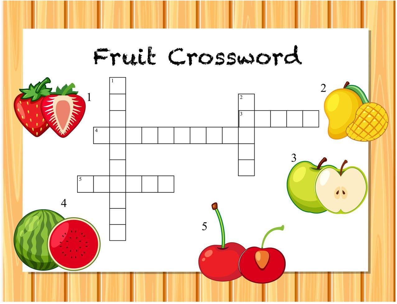 fruit kruiswoordraadsel spelsjabloon vector