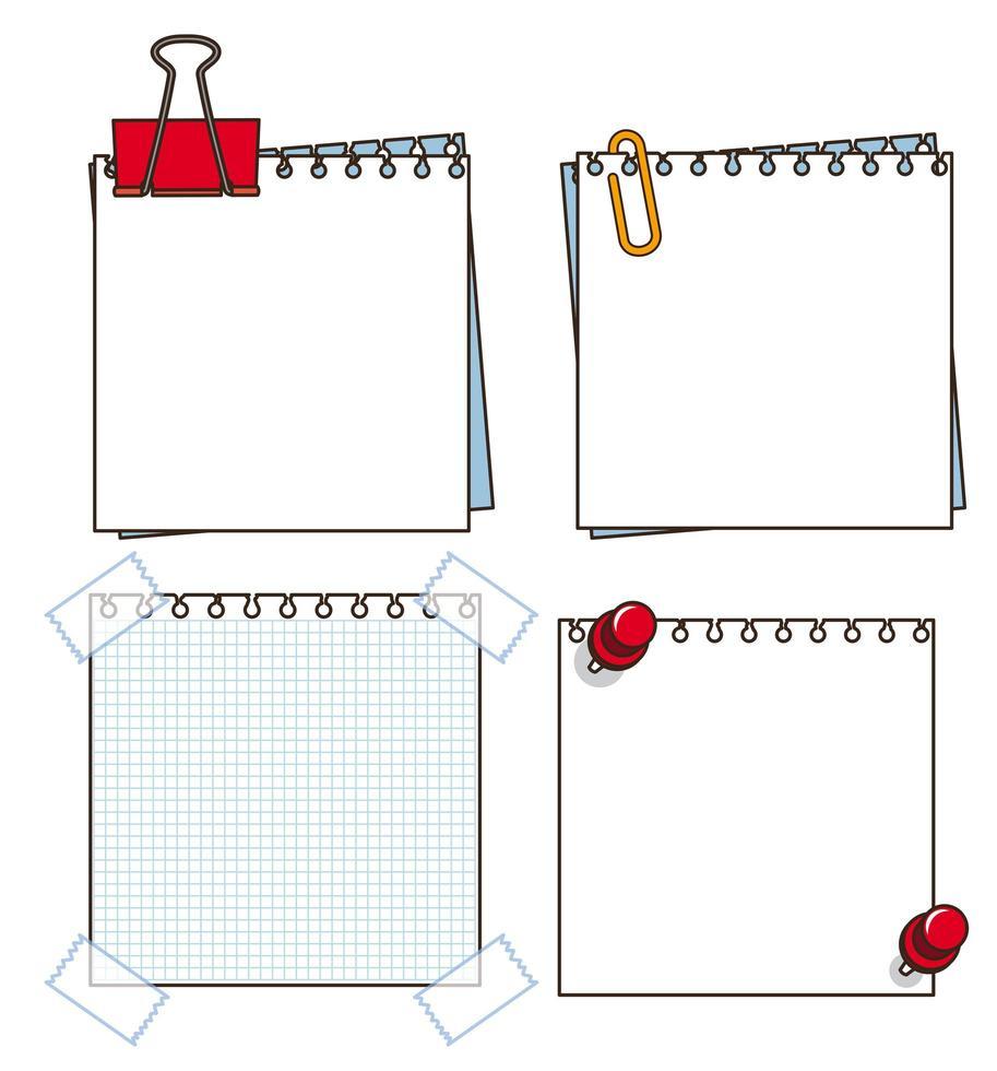 papieren notitie op witte achtergrond vector