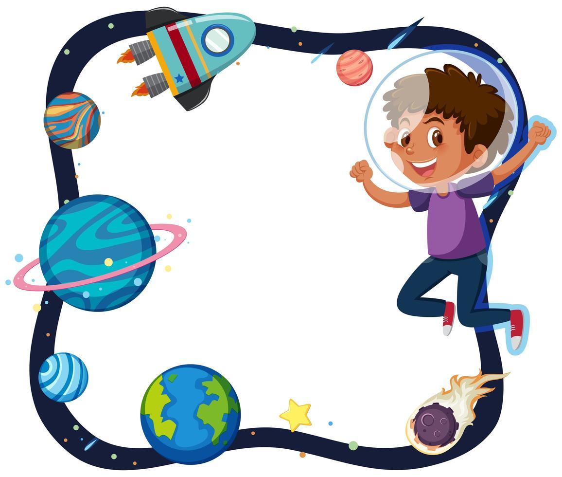 een grens tussen jongen en planeet vector