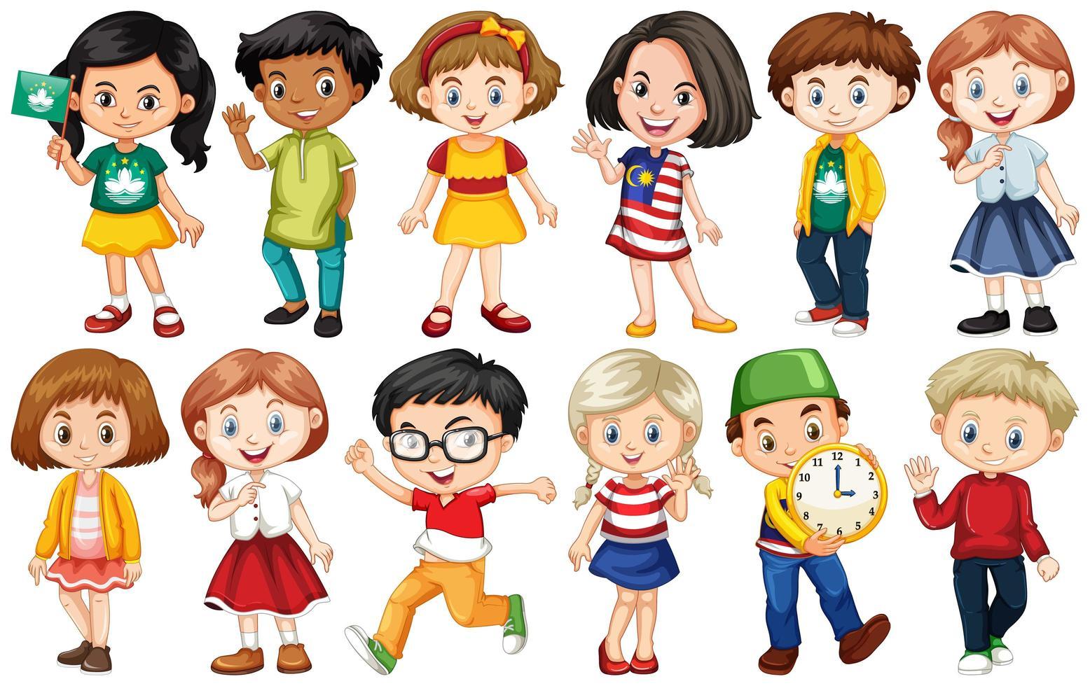aantal kinderen uit verschillende landen vector