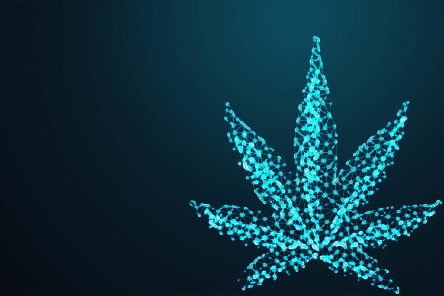 Cannabis blad veelhoekig draadframe vector