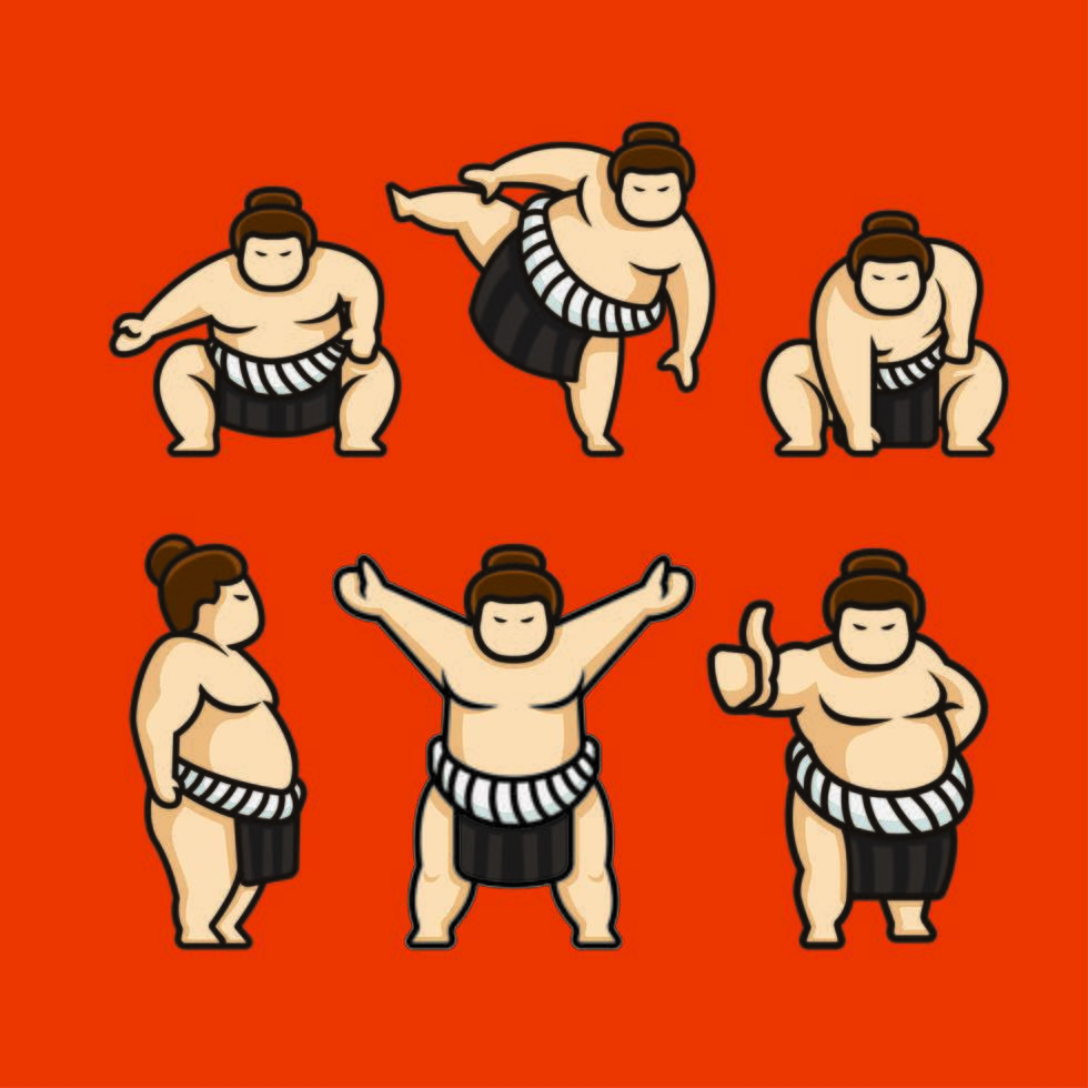 set sumo Japanse tekens vector