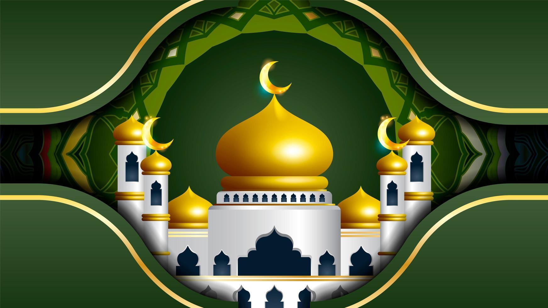 ramadan kareem groen ontwerp met moskee en mandala vector
