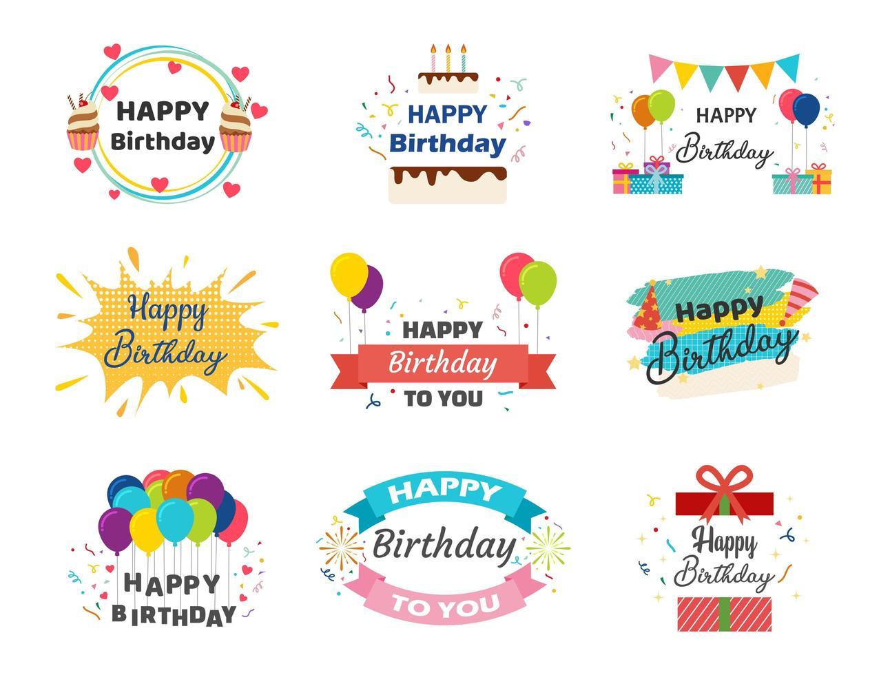 verzameling van gelukkige verjaardag banners vector