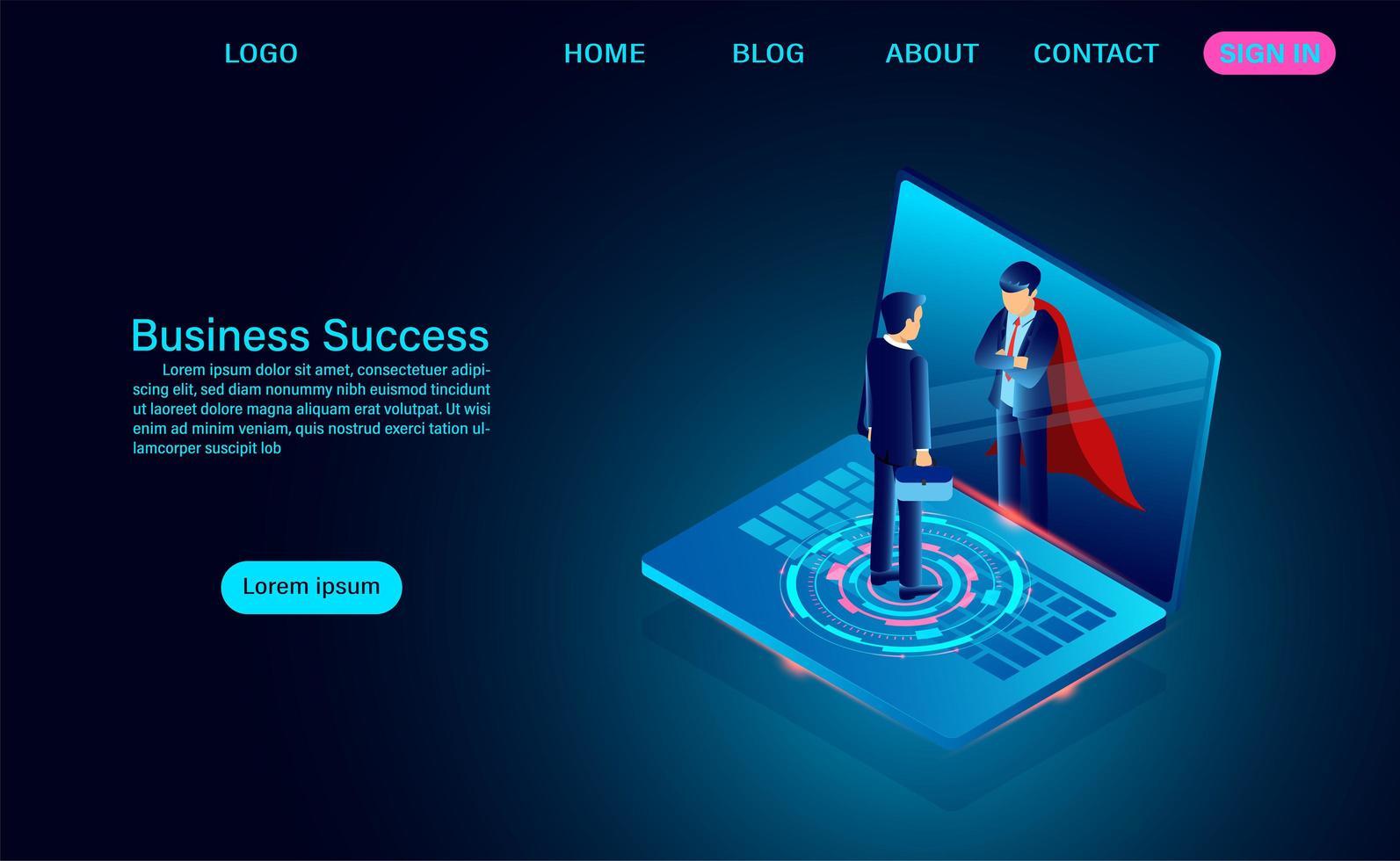 zakenman in laptop scherm kijken en superheld zien vector