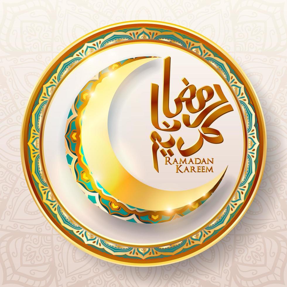 ramadan kareem in gouden sierlijke halve maan frame vector