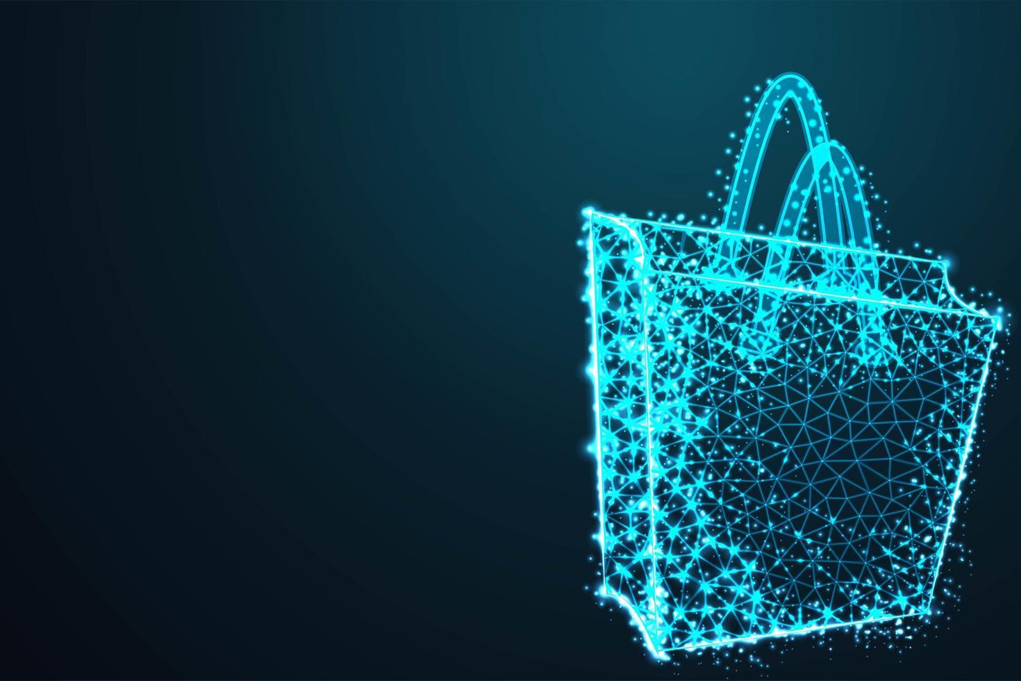 modern blauw poly boodschappentasontwerp vector