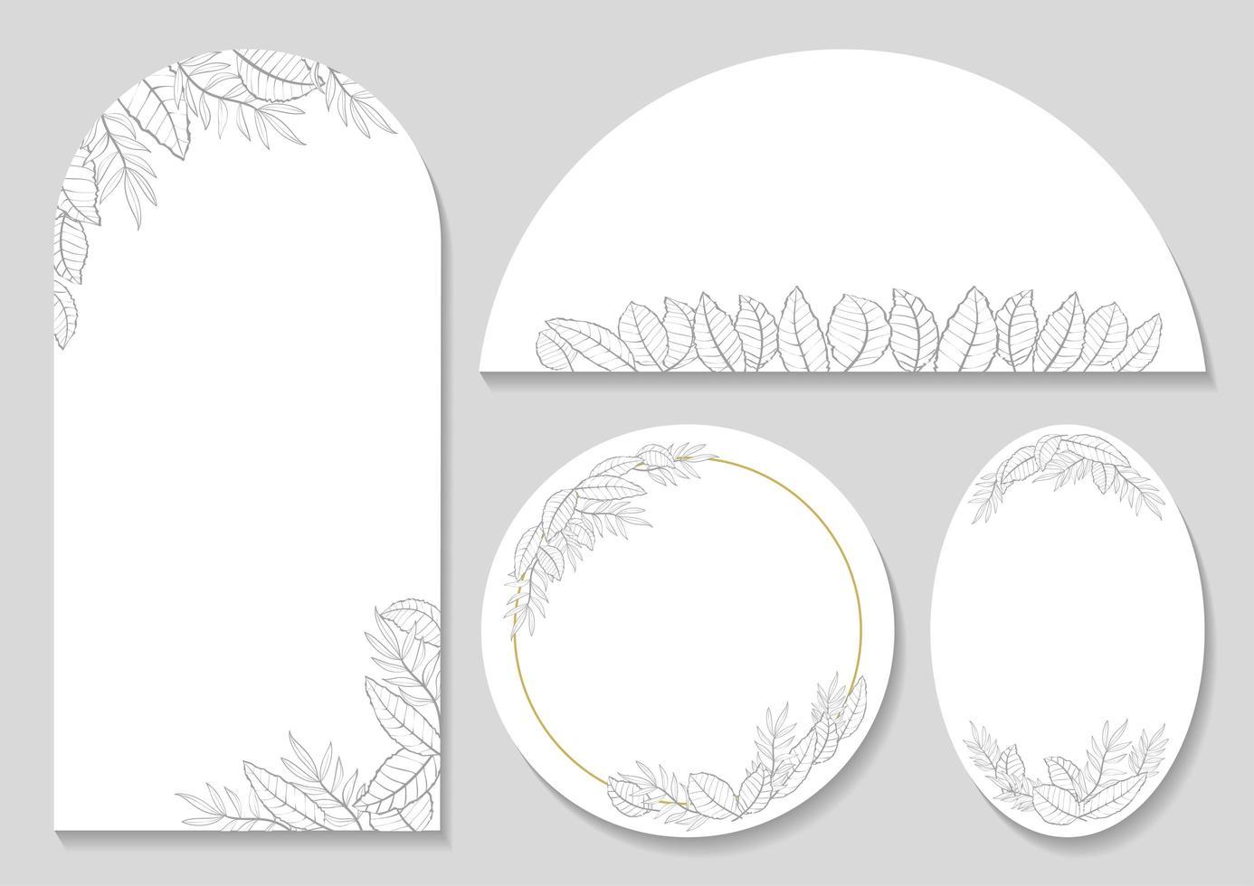set van afgeronde botanische frames vector