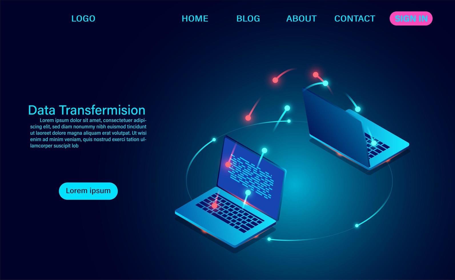 gegevensoverdracht en uitwisseling tussen laptops vector