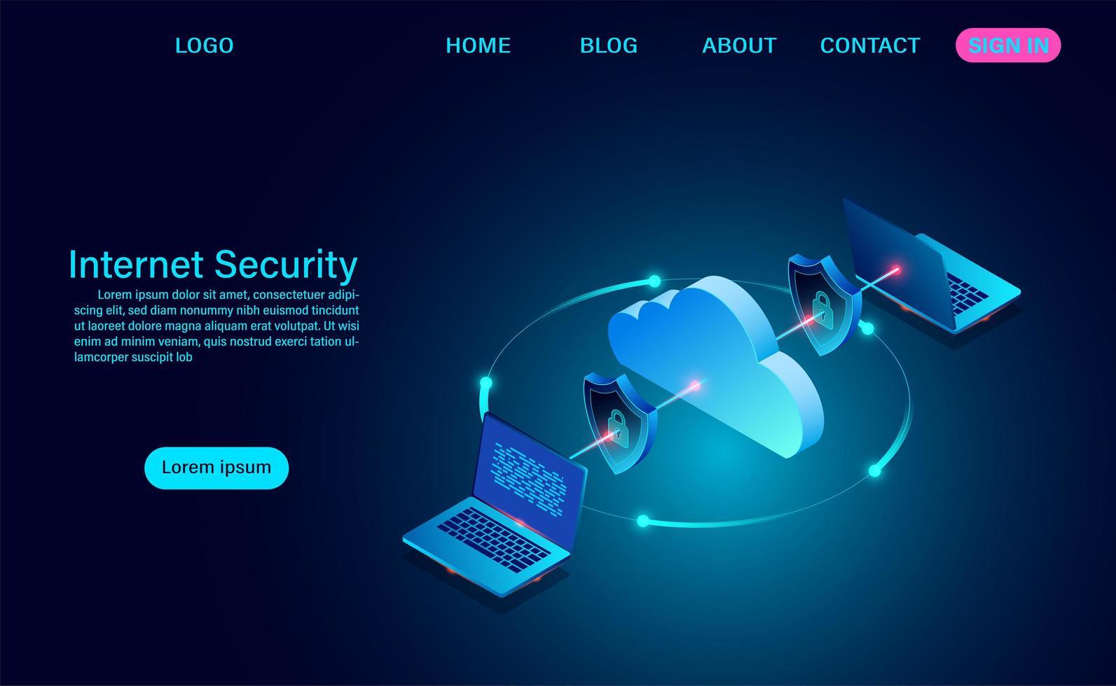 internetbeveiliging met gegevensoverdracht vector