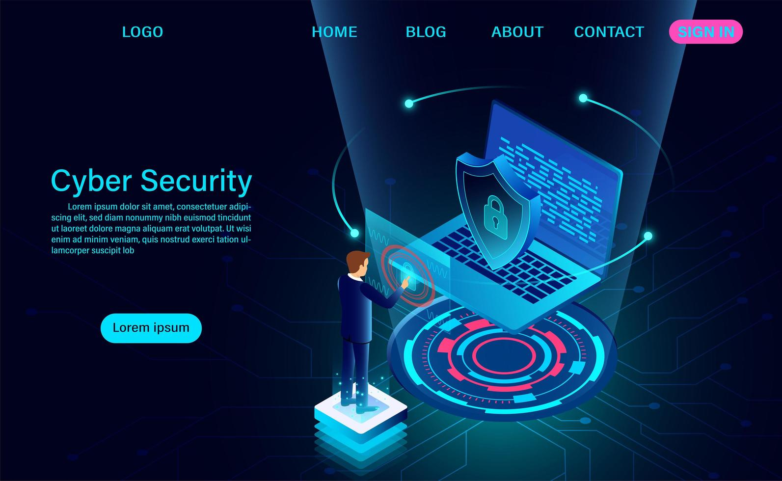 zakenman op laptop cyber beveiligingsbanner vector