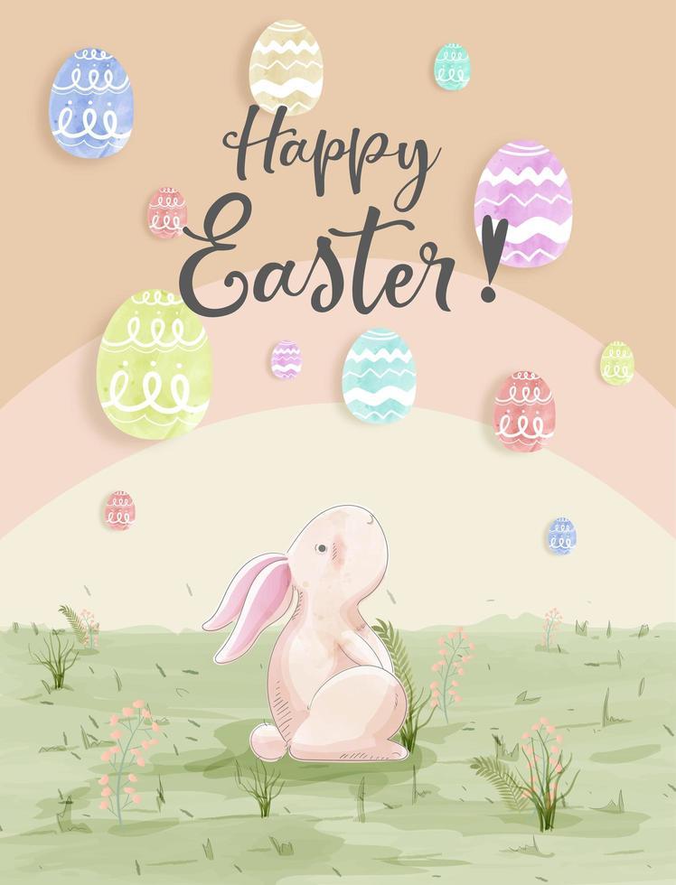 aquarel kaart met konijn ballon eieren zien vector