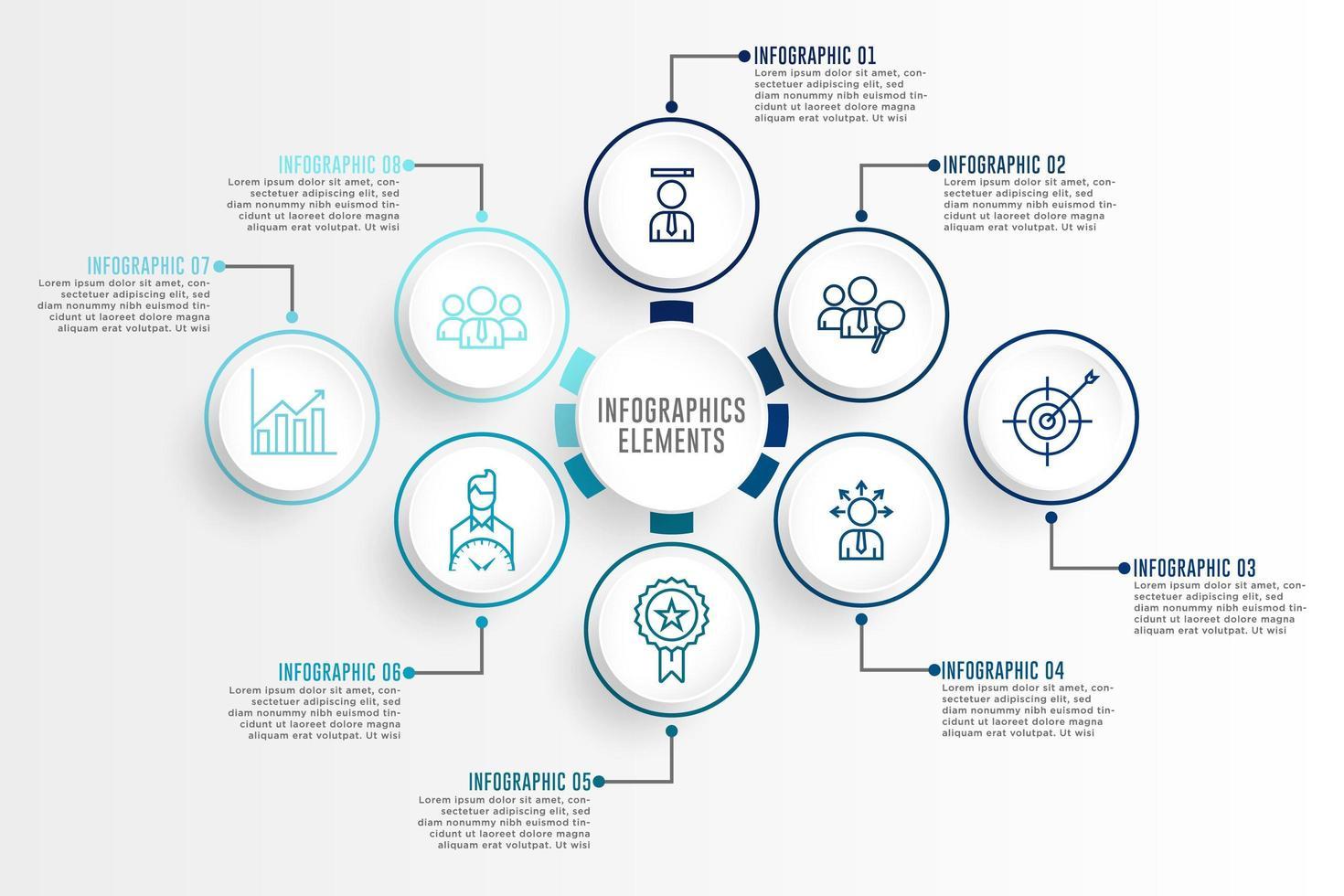 infographics blauwe omtrek elementen instellen met pictogrammen vector