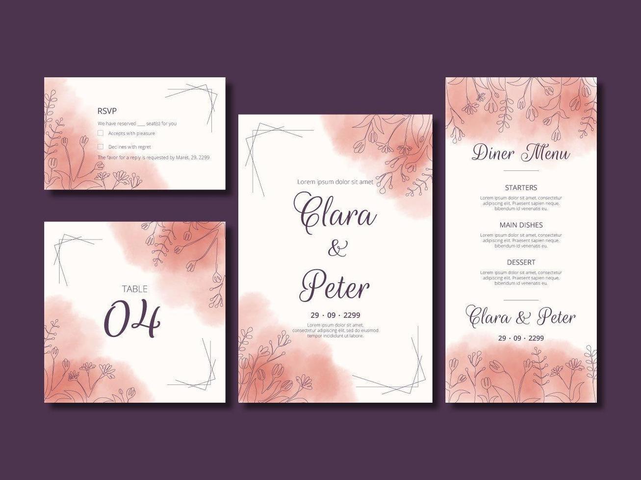 lijn kunst bloemen aquarel bruiloft kaartenset vector