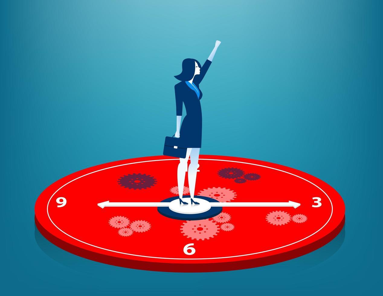 zakenvrouw permanent op klok vector