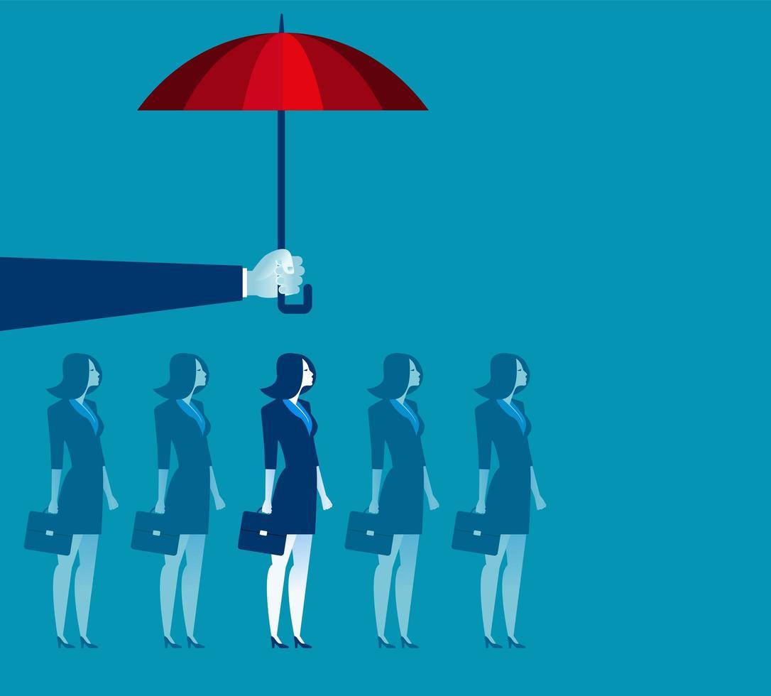 hand met paraplu boven zakenvrouw vector