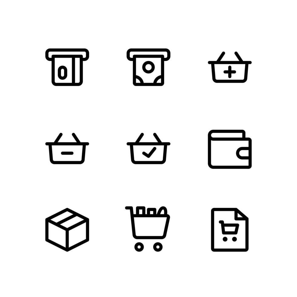 e commerce pictogrammen met ATM, waller en meer vector