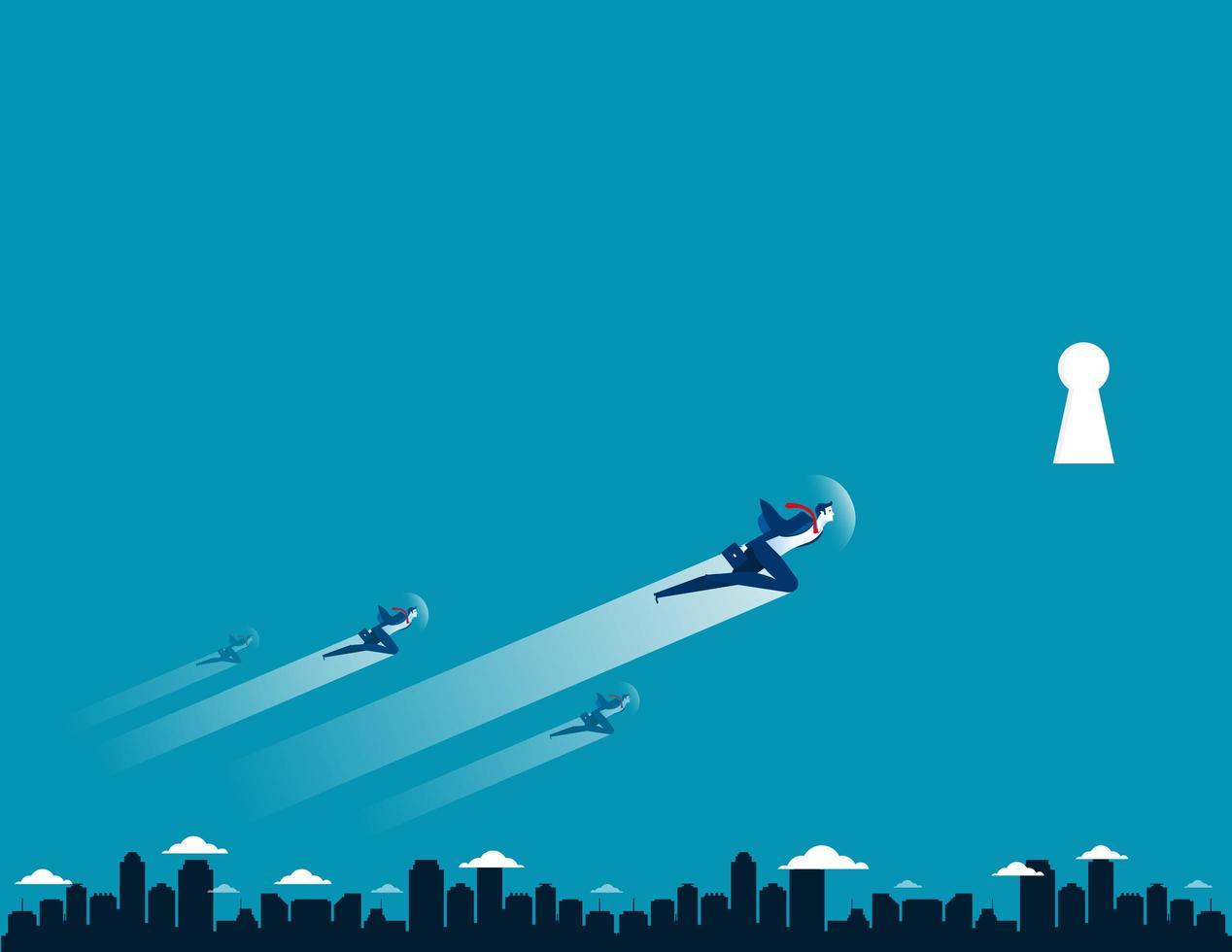 zakenlieden vliegen in een sleutelgat vector