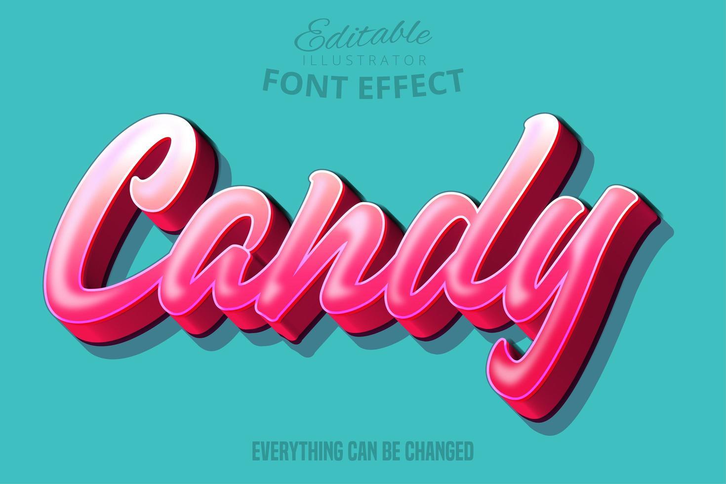 snoep roze bewerkbaar lettertype effect vector