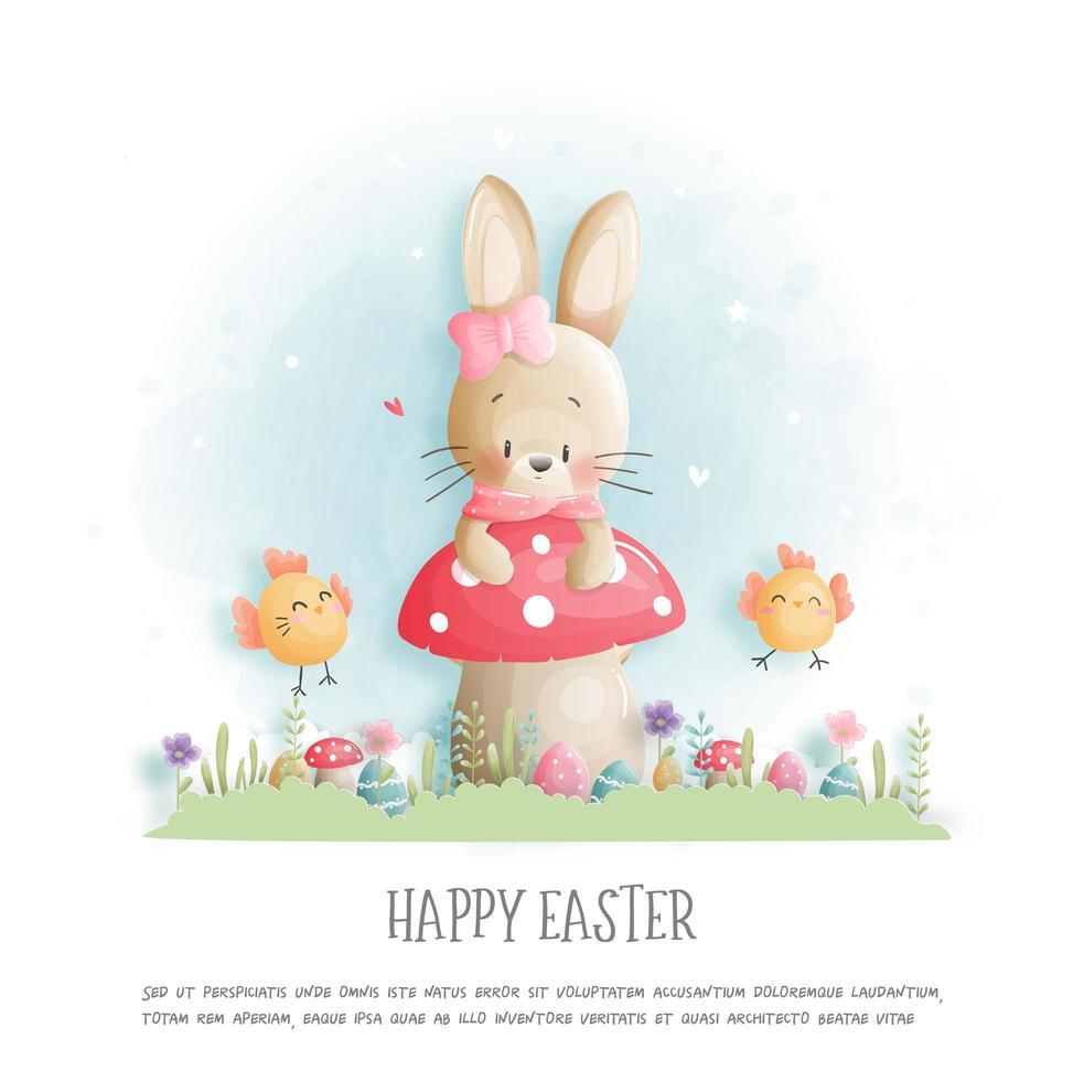 gelukkig Paaskaart met konijn zittend op paddestoel vector