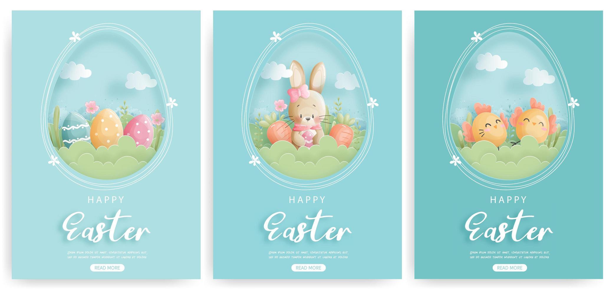 Happy Easter card set met paashaas en paaseieren vector