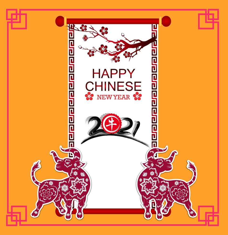 gelukkig Chinees nieuwjaar 2021 ossenkaart vector