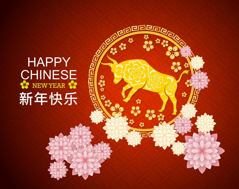 gelukkig Chinees nieuw jaar 2021 rode groet vector